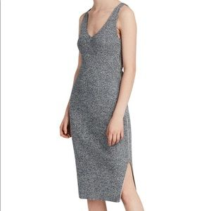 Anza gray small knitted bodycon zip midi dress